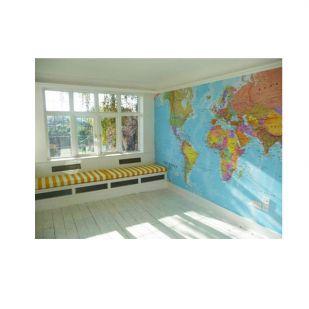 Grote wereldkaart als behangpapier