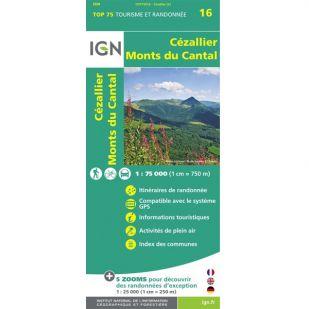 IGN Cézallier, Monts du Cantal (16) - Wandel- en Fietskaart