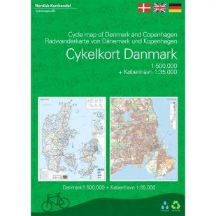 Overzichtskaart Denemarken met nationale fietsroutes