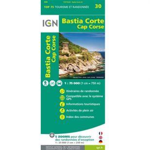 IGN Corsica: Bastia (30) - Corte - Cap Corse - Wandel- en Fietskaart !