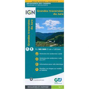IGN fietskaart - Grandes traversées du Jura