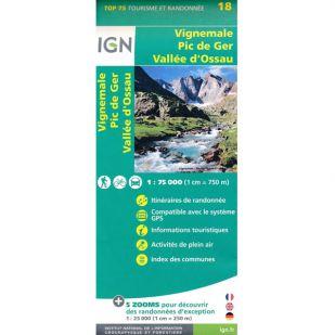 IGN Vignemale (18) - Pic De Ger - Vallee D'Ossau  - Wandel- en Fietskaart !